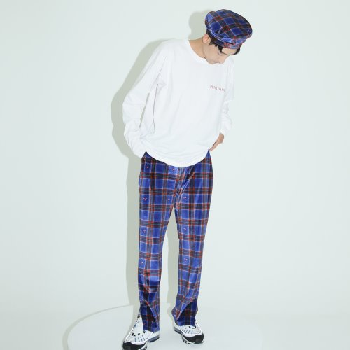 0 7 check velvet track pants - BLUE