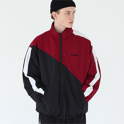 diagonal track jacket wine