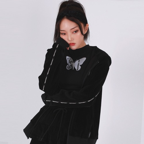 [오드단독프로모션]VELVET HOOD ZIP UP(BLACK)