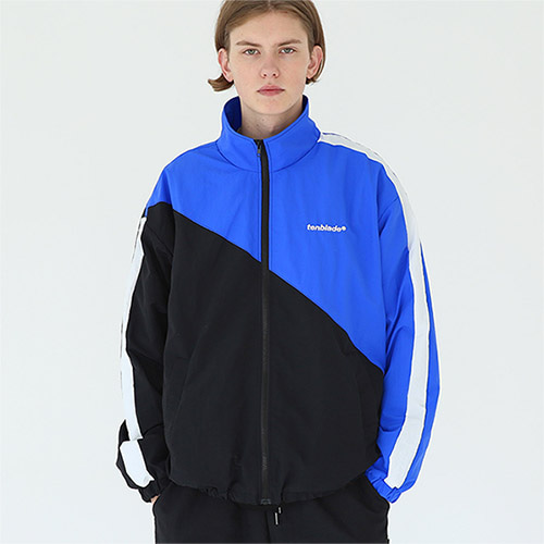 diagonal track jacket blue