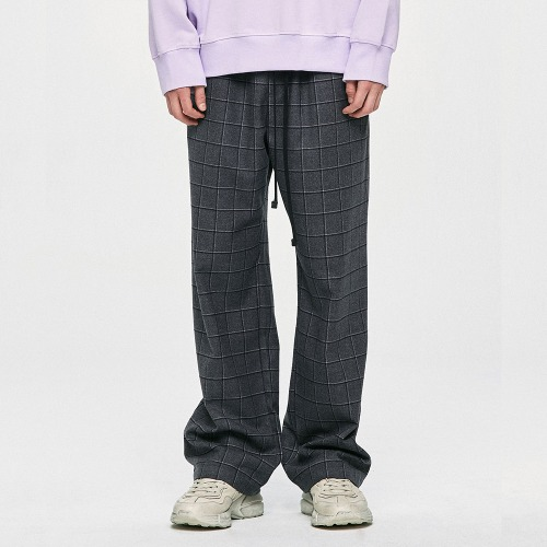 Wide Check Pants - Grey