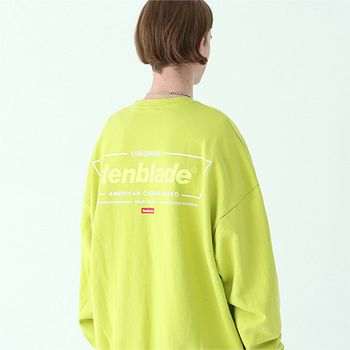 frame box sweat shirt yellow-green