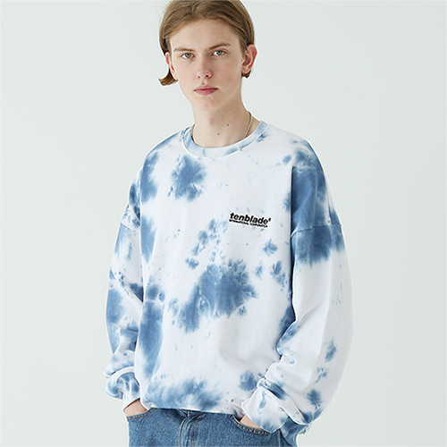 tie dye logo sweat shirt blue