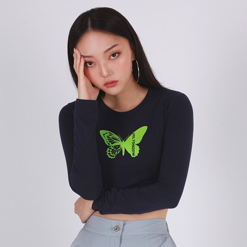 BUTTERFLY CROP TOP(NAVY)