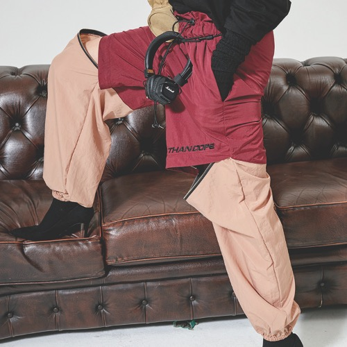 ZIP PANTS - BURGUNDY