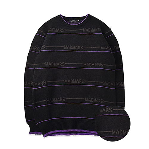 STRIPE LETTERING KNIT_BLACKPURPLE
