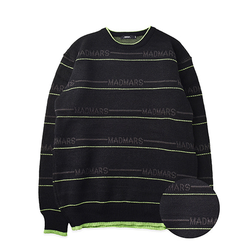 STRIPE LETTERING KNIT_BLACKNEON