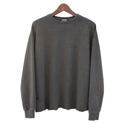 [오드단독할인]PIGMENT DAMAGE CROP SWEATSHIRT - CHARCOAL