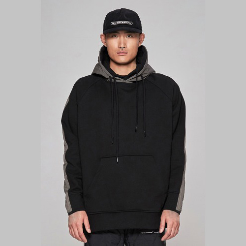 Double fabric quilted hoodie - black