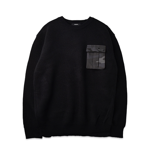 CAMOUFLAGE POCKET KNIT_BLACK