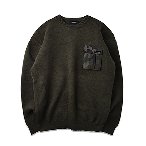 CAMOUFLAGE POCKET KNIT_KHAKI