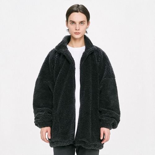 Oversized Shearling Jacket - Grey