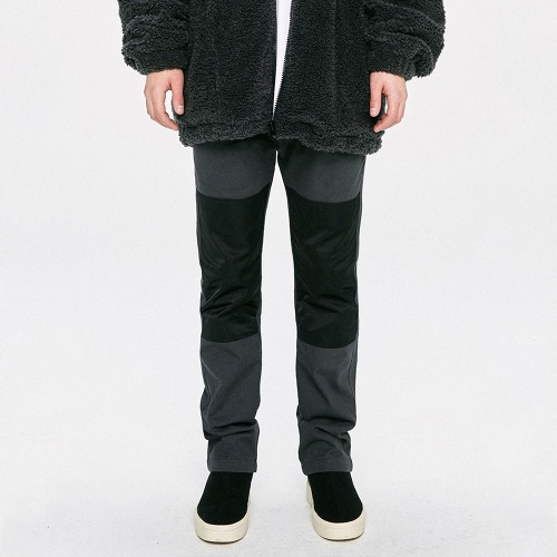 Panel Straight Pants - Grey/Black