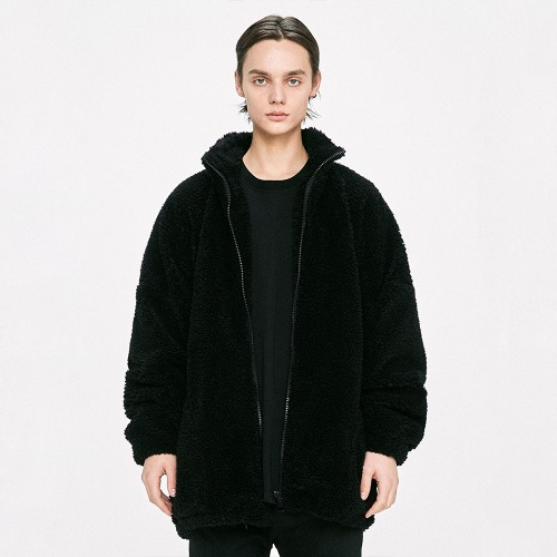 Oversized Shearling Jacket - Black