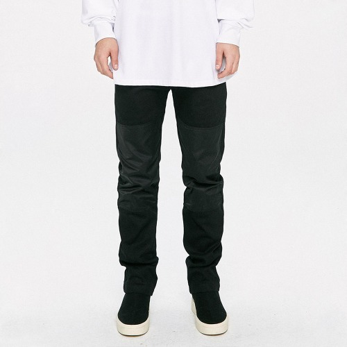 Panel Straight Pants - Black/Black