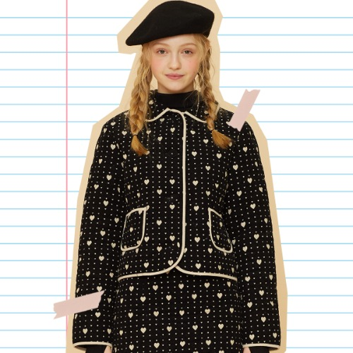 MD HEART QUILTING JACKET (BLACK)