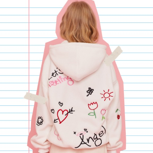 MD DOODLE HOODIE (WHITE)
