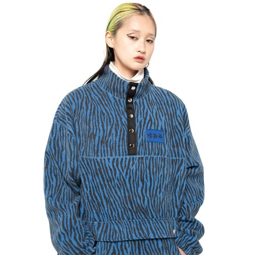 셋업이엑스이 ZEBRA FLEECE ANORAK - BLUE