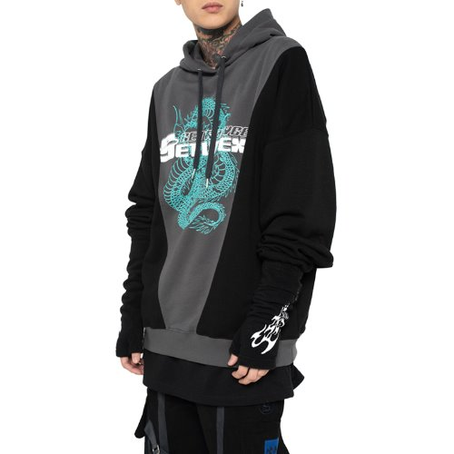 셋업이엑스이 CYBER DRAGON HOOD - BLACK