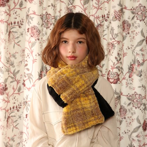 1 3 fake fur two tone muffler - YELLOW