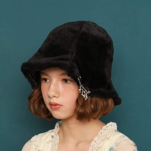 1 2 fake fur bucket hat - BLACK