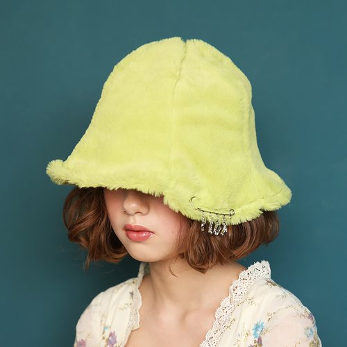 1 2 fake fur bucket hat - YELLOW-GREEN