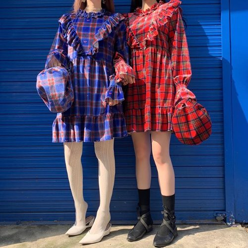 오드단독(할인+쿠폰 중복가능)[SET] 0 6 babydoll dress & 1 0 check velvet beret - RED
