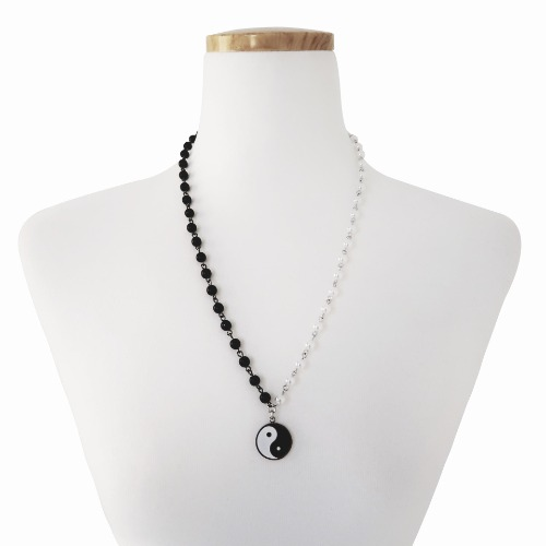 YINGYANG PEARL NECKLACE - SILVER