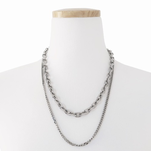 DOUBLE CHAIN NECKLACE - SILVER