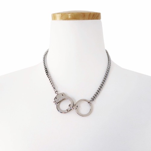 HANDCUFF RING NECKLACE - SILVER