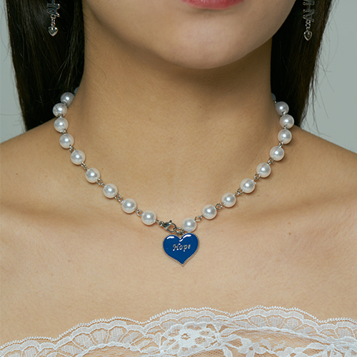 Hope heart pearl necklace