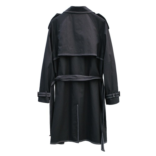 STITCH DOUBLE TRENCH COAT - BLACK