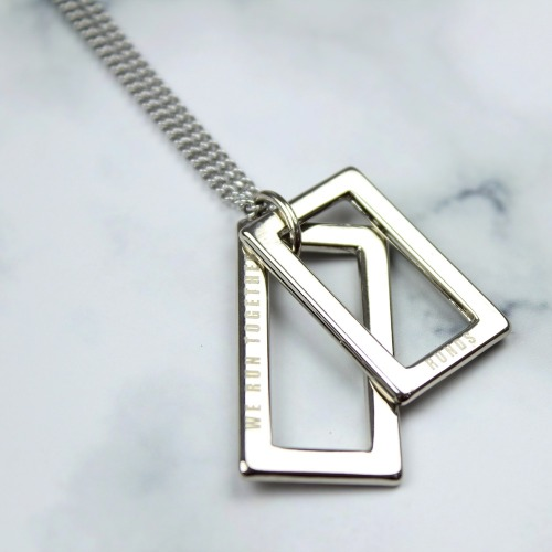 LOGO TWO-PENDANT NECKLACE