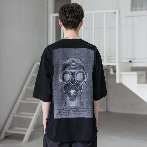 BIOLOGICAL GASMASK OVERSIZED T-SHIRTS MSZTS002-BK