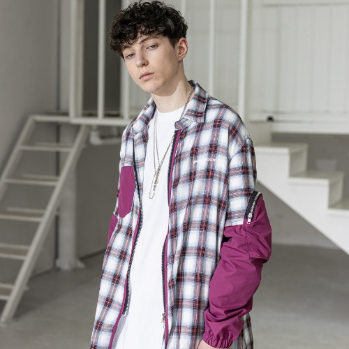 SL LOGO CHECK SECTION POCKET SHIRTS MSZST001-WN
