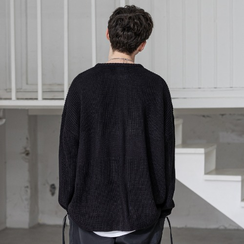 CROSS ADD LAMSWOOL OVERSIZED KNIT MSZNT001-BK