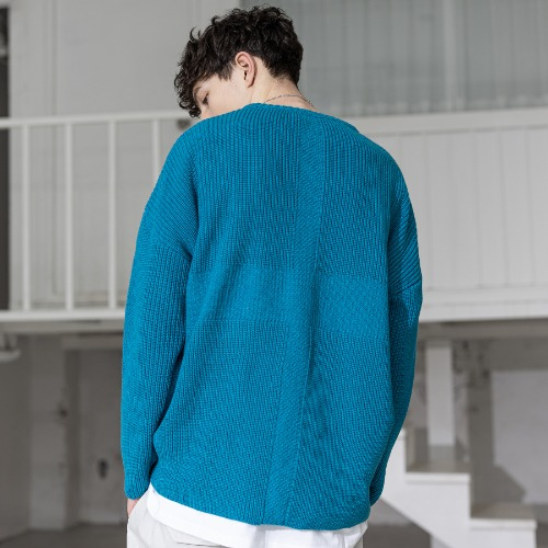 CROSS ADD LAMSWOOL OVERSIZED KNIT MSZNT001-BL
